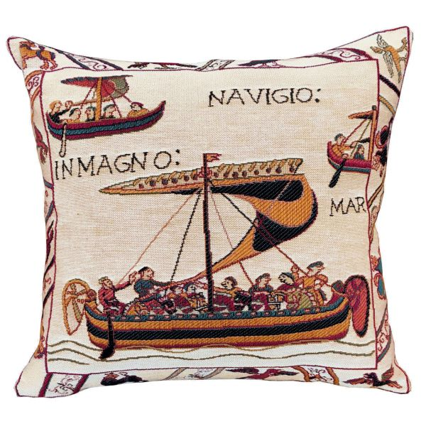 Bayeux Norman Boat Tapestry Cushion - 46x46cm (18