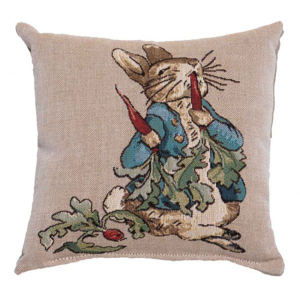 Peter Eating Radishes Fibre Filled Tapestry Cushion - 20x20cm  (8