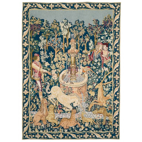 Unicorn at the Fountain Loom Woven Tapestry - 84 x 63 cm (2'9